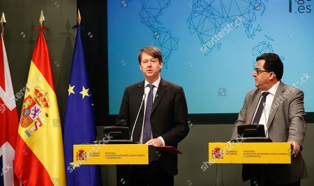 Spanish Secretary of State for European Union, Luis Marco Aguiriano (R) and Robin Walker (L), British Under Secretary of State at the Department for Exiting the European Union, address a joint press conference as part of the signing ceremony of the bilateral agreement to safeguard voting rights in local elections for their citizens residing in the other country, in Madrid, Spain, 21 January 2019.