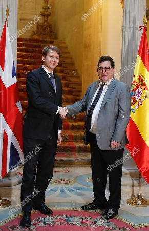 Spanish Secretary of State for European Union, Luis Marco Aguiriano (R) shakes hands with Robin Walker, British Under Secretary of State at the Department for Exiting the European Union, as part of the signing ceremony of the bilateral agreement to safeguard voting rights in local elections for their citizens residing in the other country, in Madrid, Spain, 21 January 2019.