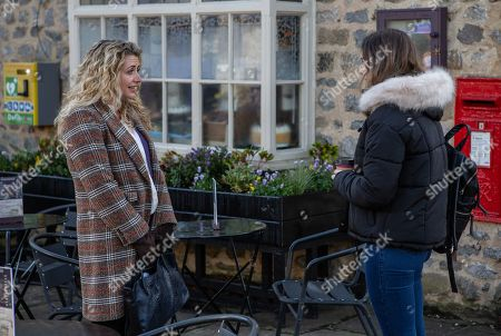 Stock Image of Ep 8381 Thursday 31st January 2019 - 1st Ep Maya, as played by Louisa Clein, stirs the pot between Jacob, Liv and Gabby Thomas, as played by Rosie Bentham.