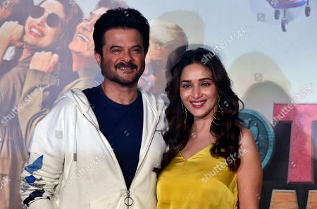 Anil Kapoor, Madhuri Dixit. Bollywood actors Anil Kapoor, left, and Madhuri Dixit pose at the trailer launch of their upcoming movie 'Total Dhamaal' in Mumbai, India, . The movie is scheduled to be released on Feb. 22, 2019