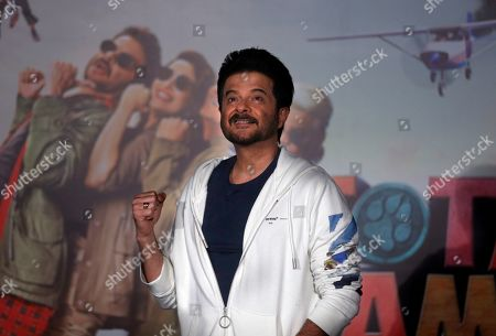Bollywood actor Anil Kapoor gestures as he leaves after the trailer launch of his upcoming movie 'Total Dhamaal' in Mumbai, India, . The movie is scheduled to be released on Feb. 22, 2019