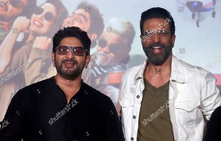 Arshad Warsi, Javed Jaffrey. Bollywood actors Arshad Warsi, left, and Javed Jaffrey pose for photographers at the trailer launch of their upcoming movie 'Total Dhamaal' in Mumbai, India, . The movie is scheduled to be released on Feb. 22, 2019