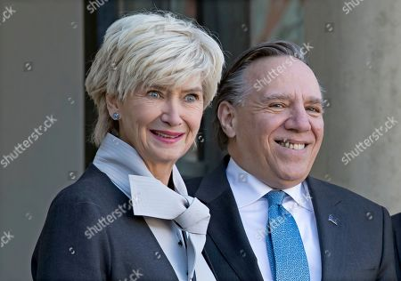 Prime Minister of Quebec Francois Legault  and his wife Isabelle Brais arrive for a meeting at the Elysee Palace in Paris, France, 21 January 2019.