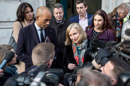 From left: Heidi Alexander, Chuka Umunna, Chris Leslie, Sarah Wollaston, Gavin Shuker and Luciana Berger speak to the media after a meeting in the Cabinet Office.