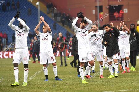 Milan's players Tiemoue Bakayoko (L), Ignazio Abate (2L), Lucas Paqueta (3L), Fabio Borini (3R), Suso (2R) and Patrick Cutrone (R) celebrate their win after the Italian Serie A soccer match between Genoa CFC and AC Milan at Luigi Ferraris stadium in Genoa, Italy, 21 January 2019.