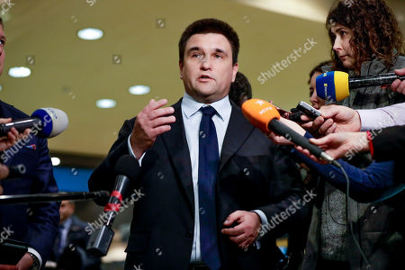 Ukrainian Foreign Minister Pavlo Klimkin speaks to the press after trilateral gas talks between EU, Russia and Ukraine at the European Commission in Brussels, Belgium, 21 January 2019. Reports state that the main item on the agenda will be prospects of gas transit through Ukraine after the contract with Russia ends on 31 December 2019.