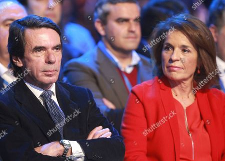 Stock Photo of Former Spanish Prime Minister, Jose Maria Aznar (L) and his wife and former Madrid Mayor, Ana Botella