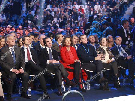 (From L-R) Antonio Tajani, Pablo Casado, Jose Maria Aznar, Ana Botella, Alberto Nunez Feijoo, Ana Pastor, Pio Garcia Escudero