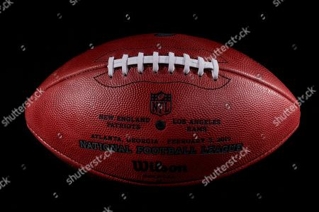 0855cc82513 An official ball for the NFL Super Bowl LIII football game that was made at  the