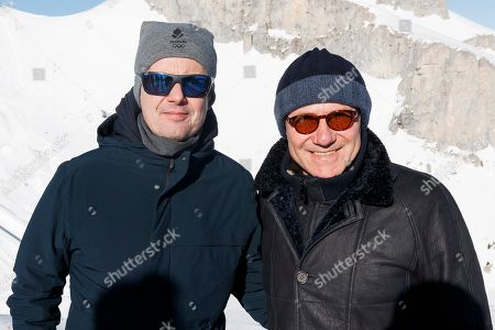 Prince Frederik of Denmark, left, IOC Member, Sergey Bubka, right, Former pole vault world-record holder and IOC Member, on the site of the snowpark Freestyle of Lausanne 2020 during a 3rd visit of the Coordination Commission before the next Winter Youth Olympic Games Lausanne 2020, YOG, in Leysin, Switzerland, Monday, January 21, 2019 The 2020 Winter Youth Olympic Games will take place in Lausanne from 10 to 19 January 2020.