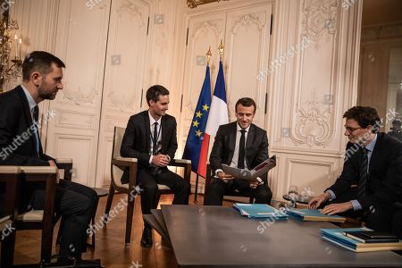 CEO of the US multinational technology and social media company Snap Inc Evan Spiegel meets with French president Emmanuel Macron prior to a meeting as part of the second edition of the 'Choose France' summit,