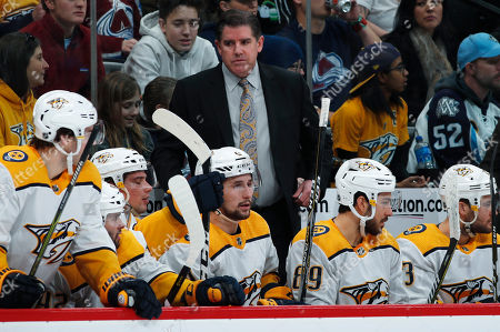 Peter Laviolette, peter laviolette. Nashville Predators head coach Peter Laviolette, back, directs his players in the second period of an NHL hockey game against the Colorado Avalanche, in Denver
