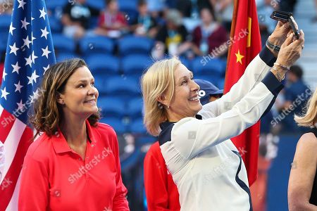 Former tennis players Martina Navratilova (R) and Pam Shriver (L) of the USA take a selfie during a ceremony inducting former players Li Na of China and Mary Pierce of France into the International Tennis Hall of Fame on day nine of the Australian Open Grand Slam tennis tournament in Melbourne, Australia, 22 January 2019.