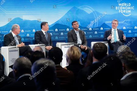 From left Stephen Schwarzman CEO Blackstone, Ning Gaoning, Chairman Sinochem Group, Raghuram G. Rajan of the University of Chicago and Brian T. Moynihan, CEO Bank of America during the session 'Shaping a New Market Architecture' at annual meeting of the World Economic Forum in Davos, Switzerland