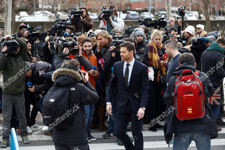 Former Real Madrid midfielder Xabi Alonso leaves a court in Madrid, Spain, 22 January 2019. Alonso is accused of three tax offenses.