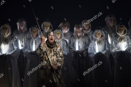 German bass Rene Pape (front) performs on stage during a dress rehearsal of the play 'Thamos, King of Egypt' in Salzburg, Austria, 21, January 2019 (issued 22 January 2019). Tobias Philipp von Gebler's play will be staged at the Salzburg Mozart Week, which runs from 24 January to 03 February 2019.