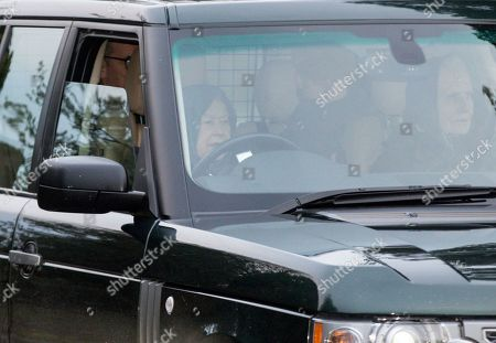 Queen Elizabeth II driving in Sandringham, Norfolk