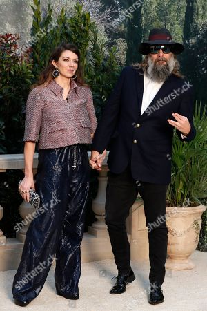 France's Sebastien Tellier and Amandine de la Richardiere pose during a photocall before the presentation of Chanel's Spring/Summer 2019 Haute Couture fashion collection presented in Paris, Tuesday Jan.22, 2019