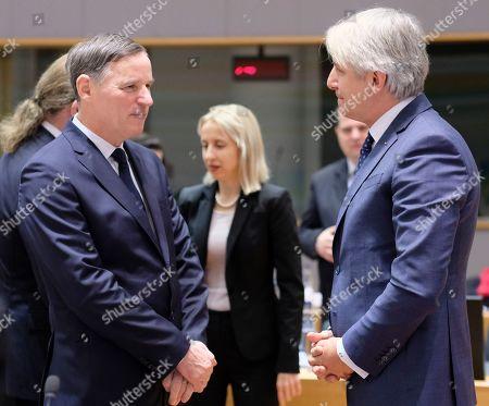 (L-R) Slovenian Finance Minister Andrej Bertoncelj, Polish Minister of Finance Teresa Czerwinska and Romanian Finance Minister Eugene Teodorovici during the European Finance Ministers' meeting in Brussels, Belgium, 21 January 2019.