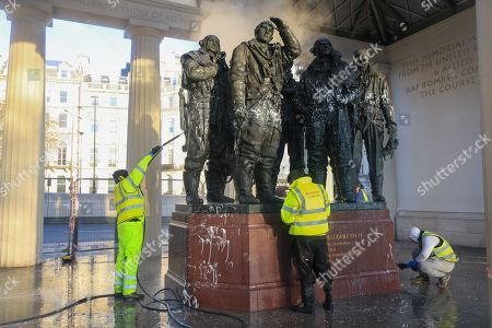 War memorials vandalised in London