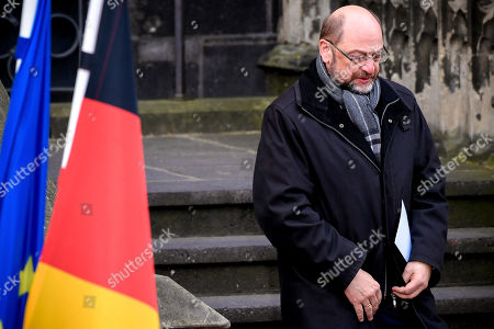 Former leader of the Social Democratic Party (SPD) Martin Schulz leaves after the signing of a new Franco-German friendship treaty in Aachen, Germany, 22 January 2019. French President Emmanuel Macron and German Chancellor Angela Merkel signed a new friendship treaty, intended to supplement the 1963 Elysee Treaty, pledging to provide deeper economic and defense ties and commitment to the EU.
