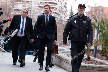 Xabi Alonso arrives at the provincial court of Madrid for his tax evasion trial.