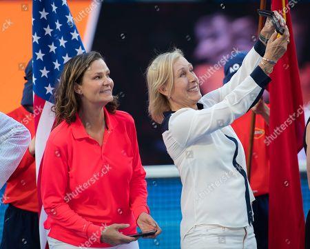 Stock Photo of Pam Shriver and Martina Navratilova during a Tennis Hall of Fame Ceremony at the 2019 Australian Open Grand Slam tennis tournament