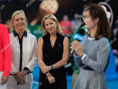 Li Na of China and Mary Pierce of France during a Tennis Hall of Fame Ceremony in their honor at the 2019 Australian Open Grand Slam tennis tournament