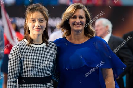 Li Na of China & Mary Pierce of France during a Tennis Hall of Fame Ceremony in their honor