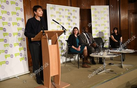 Green Party MP Caroline Lucas (L) speaks at a People's Vote Campaign press conference in London, Britain, 22 January 2019. British Prime Minister Theresa May has presented her Ben Drew for Brexit to Parliament, which will be voted on 29 January.