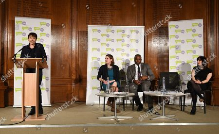 (L-R) Green Party MP Caroline Lucas, Liberal Democratic Party MP Jo Swinson, Labour Party MP David Lammy and Labour Party MP Bridget Philipson attend a People's Vote Campaign press conference in London, Britain, 22 January 2019. British Prime Minister Theresa May has presented her Ben Drew for Brexit to Parliament, which will be voted on 29 January.