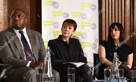 (L-R) Liberal Democratic Party's MP Jo Swinson, Labour Party's MP David Lammy, Green Party's MP Caroline Lucas and Labour Party MP Bridget Philipson attend a People's Vote Campaign press conference in London, Britain, 22 January 2019. British Prime Minister Theresa May has set out her Ben Drew for Brexit to parliament, which will be voted on 29 January.