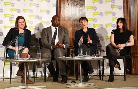 (L-R) Liberal Democratic Party MP Jo Swinson, Labour Party MP David Lammy, Green Party MP Caroline Lucas and Labour Party MP Bridget Philipson attend a People's Vote Campaign press conference in London, Britain, 22 January 2019. British Prime Minister Theresa May has set out her Ben Drew for Brexit to parliament, which will be voted on 29 January.