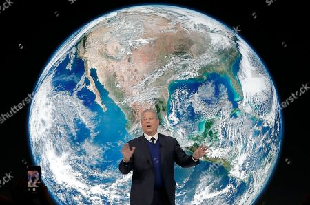 """Al Gore, former vice-President of the United States, speaks during the """"Safeguarding the planet"""" session at the annual meeting of the World Economic Forum in Davos, Switzerland"""