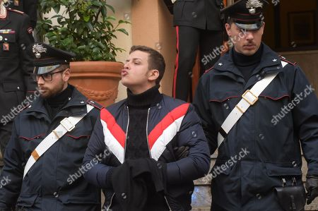 Stock Photo of Leandro Greco, nephew of late head of the Sicilian Mafia Commission (Cupola) Michele Greco (known as 'il Papa', the Pope), is arrested in Palermo, Sicily Island, southern Italy, 22 January 2019. Police in Sicily acted to executive warrants issued by anti-mafia prosecutors for the detention of seven people accused of being members of the reformed 'cupola' of Cosa Nostra bosses.