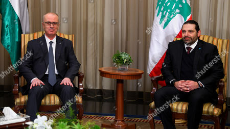 Palestinian Prime minister Rami Hamdallah meets with Lebanese Prime Minister Saad Hariri, ahead of a weekend Arab Economic Summit, in Beirut