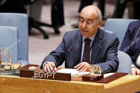 Egypt's U.N.Ambassador Mohamed Fathi Ahmed Edrees addresses the United Nations Security Council, at U.N. headquarters