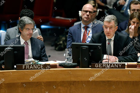 Francois Delattre, Christoph Heusgen. Germany's U.N. Ambassador Christoph Heusgen, right, addresses the United Nations Security Council, as France's U.N. Ambassador Francois Delattre, left, listens, at U.N. headquarters