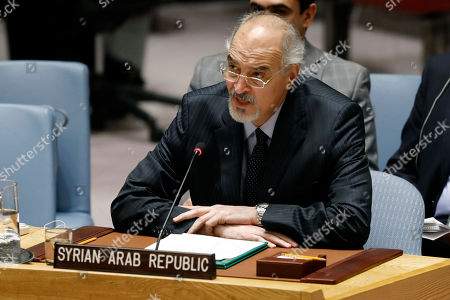 Syria's U.N. Ambassador Bashar Jaafari addresses the United Nations Security Council, at U.N. headquarters