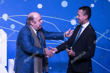 Stock Image of Italian Deputy Premier and Minister of Labor and Economic Development Luigi Di Maio (R) with popular comedy actor Lino Banfi (L) speak during an event of Five Star Movement in Rome, Italy, 22 January 2019. Italian Government has decided to nominate Lino Banfi representative of Italian UNESCO commission.