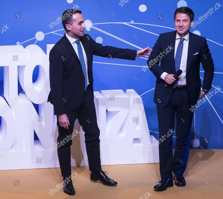 Stock Photo of Italian Deputy Premier and Minister of Labor and Economic Development Luigi Di Maio (L) with Italian Prime Minister Giuseppe Conte (R) speak on a stage during an event of Five Star Movement in Rome, Italy, 22 January 2019. Italian Government has decided to nominate Lino Banfi representative of Italian UNESCO commission.