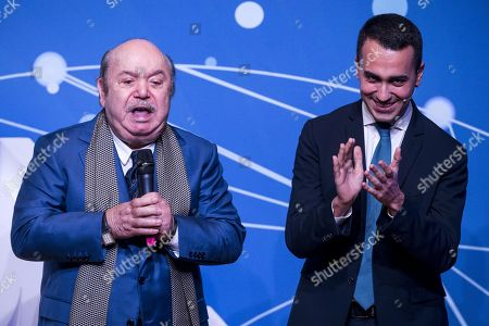 Italian Deputy Premier and Minister of Labor and Economic Development Luigi Di Maio (R) with popular comedy actor Lino Banfi (L) during an event of Five Star Movement in Rome, Italy, 22 January 2019. Italian Government has decided to nominate Lino Banfi representative of Italian UNESCO commission.
