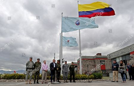 Colombian President Ivan Duque speaks to the press next to Defense Minister Guillermo Botero (C-L), commander of the Colombian Military Forces, Major General Luis Fernando Navarro (C-R), and his military leadership, in Bogota, Colombia, 22 January 2019. Duque again asked Cuba to hand over the peace negotiators of the National Liberation Army (ELN) guerrilla who are on the island, after that group on 21 January claimed responsibility for the terrorist attack in Bogota that left 20 cadets dead.