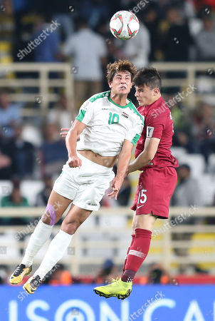 Stock Image of Mohanad Ali Kadhim (L) of Iraq in action against Ahmed Fathy of Qatar during the 2019 AFC Asian Cup round of 16 soccer match between Qatar and Iraq in Abu Dhabi, United Arab Emirates, 22 January 2019.