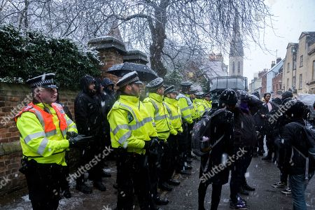 Protesters outside Oxford Union before Marion Marechal-Le Pen is due to give a talk there