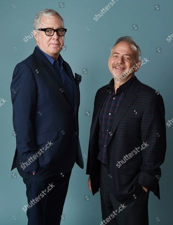 """Scott Wittman, Marc Shaiman. Scott Wittman, left, and Marc Shaiman, co-songwriters for the film """"Mary Poppins Returns,"""" pose for a portrait at the Montage Beverly Hills, in Beverly Hills, Calif. On Tuesday, Jan. 22, the duo were nominated for an Oscar for best original song for """"The Place Where Lost Things Go"""