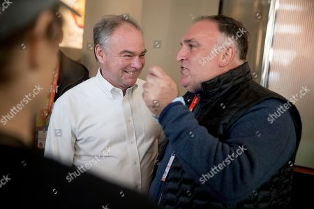 Tim Kaine, Jose Andres. Sen. Tim Kaine, D-Va., speaks Chef Jose Andres, right, as he gives him a tour of a resource center set up to give out food and supplies which is part of the World Central Kitchen, the not-for-profit organization started by Chef Jose Andres, in Washington. The organization devoted to providing meals in the wake of natural disasters, has set up a distribution center just blocks from the US Capitol building to assist those affected by the government shutdown