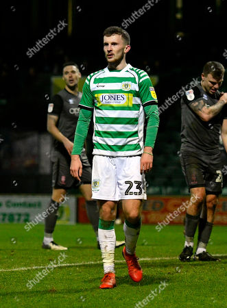 Tom James (23) of Yeovil Town during the EFL Sky Bet League 2 match between Yeovil Town and Lincoln City at Huish Park, Yeovil