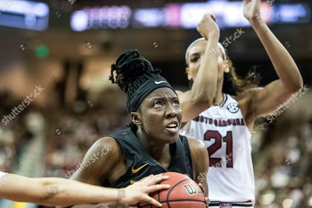 Missouri guard Amber Smith (23) drives to the hoop during an NCAA college basketball game, in Columbia, S.C. South Carolina defeated Missouri 79-65