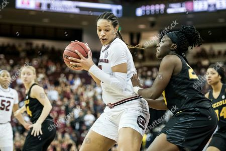 South Carolina forward Alexis Jennings drives to the hoop against Missouri Tigers guard Amber Smith (23) during an NCAA college basketball game, in Columbia, S.C. South Carolina defeated Missouri 79-65